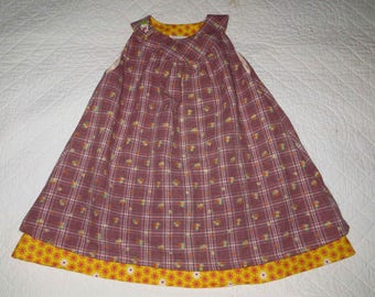 Cotton Plaid and flowers girl pinafore dress