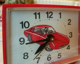 Vintage Red Sportscar Westclox Electric Alarm Clock  made in U.S.A.