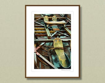 Fine art photography, 30x40 cm framed art prints, vintage rowing boat, rustic home decoration, wall art, home improvement