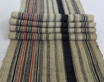 Long Natural Hmong hemp fabric,vintage  hemp hand dyed Hmong hill tribe -Bed runner ,Table runner from Thailand