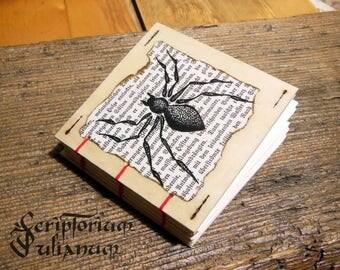 Pocket-size spider notebook, handdrawn, wooden cover, animal gothic grimoire herbarium sketchbook journal book of shadows, Ostara gift