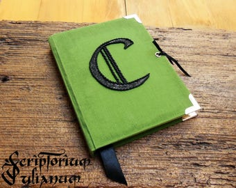 Personalized journal, initial journal, letter C journal, green notebook, lockable journal, closable journal,gift for him her, Easter gift