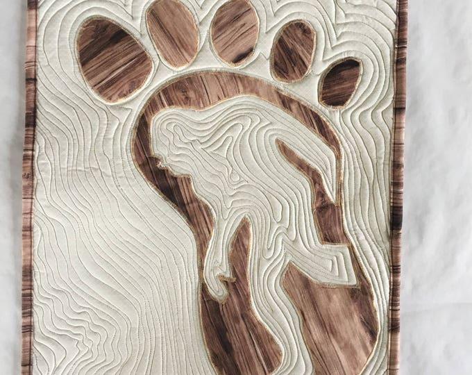 Mysterious Bigfoot Mini Quilt, Woodgrain, Wall Art,