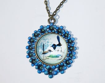 Two Birds Floral Necklace, Pendant, Glass Dome Pendant, Handmade, Hand Painted Necklace, Hand Painted Jewelry, Handmade Jewelry, Birds, Blue