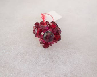 Woven with red beads ring
