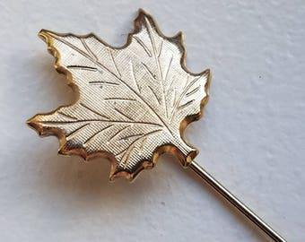 Gold Tone Maple Leaf Stick Pin