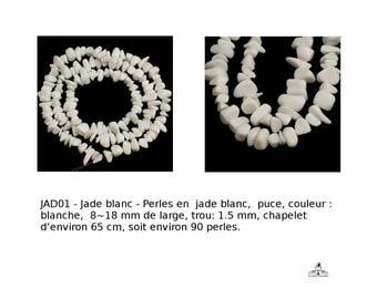 Jade blanc,  Perles en  jade blanc,  puce, couleur blanche, environ 8~18 mm de large, (réf aps-ph-X-Z266S011 jade)