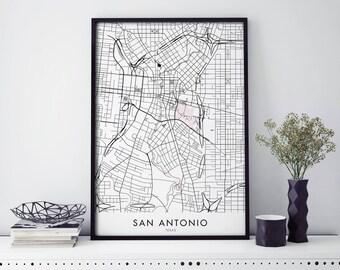 San Antonio, Texas Art, City Map Print Wall Art | A4 A3 A2