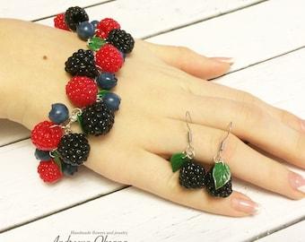 Set of jewelry Bracelet Earrings Berry Raspberry Blackberry Polymer clay