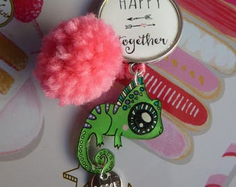 Snap together and Chameleon crazy plastic happy bag charm keychain