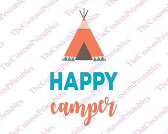 Happy, Camper, Tribal, Tent, SVG, Cut File, Vector, Cricut Files, Silhouette Files, Iron on Transfer, Printable