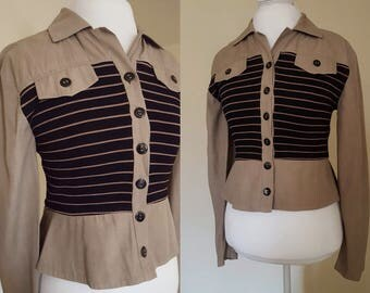 90s Blouse / 80s/90s Striped Tan and Black Collared Shirt