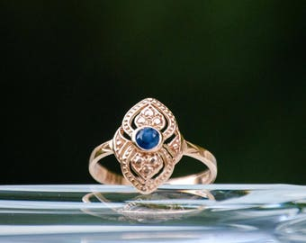 Blue Sapphire Ring, Rose Gold Ring, Solid Gold Ring, Dainty Ring, Birthstone Ring, Sapphire Jewelry, Handmade Ring, Statement Ring