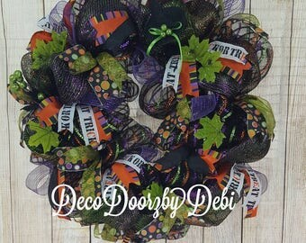Halloween deco mesh wreath, Halloween decorating, Front door wreath, Witch deco mesh wreath