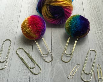 Pompom Paperclip, Rainbow Yarn, Rainbows, Rainbow bookmarks, Rainbow Paperclip, Multi color, Gold, Gold paperclips, Large Pompom, Yarn, Gift
