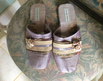 Vintage Daniel Green Slippers, Lavender Silk and Suede, Size 9M