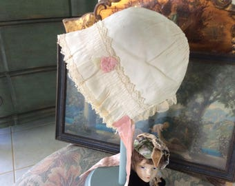 """Antique  Bonnet, Baby or Large 13"""" Head Doll, silk and Lace, Cream and Pink"""