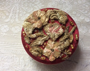 Antique Edwardian Fabric Powder Puff, Natural Lambs Wool, Silk Chenille Embroidery and Glass Beads