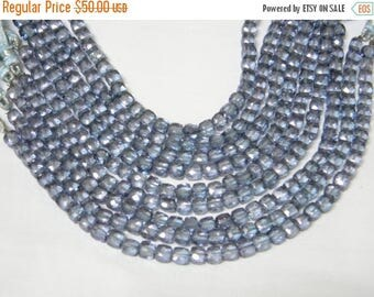 8 inch strand--5 mm approx-- Fine Quality Mystic Blue Quartz Faceted Cube Briolettes