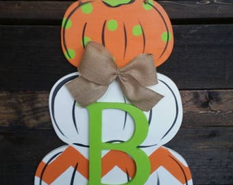 Stacked Pumpkin with Initial