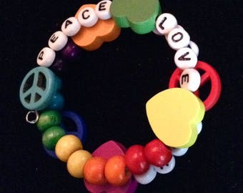 Peace Love Rainbows Hearts bracelet  (CHILD'S/SMALL)  (#BRAC8)