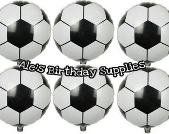 6 Pc Soccer Ball Sports Balloons Party Birthday Supplies