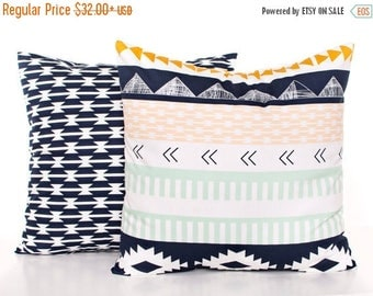 SALE ENDS SOON Navy Kilim Baby Pillows, Navy Blue Nursery Pillow Covers, Arrow Cushion Covers, Dorm Room Decor, Mint Green Toss Pillow, Set