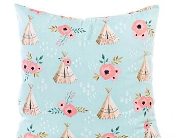 SALE ENDS SOON Light Blue Tee Pee Print Pillow Cover, Southwestern Nursery Pillowcase, Watercolor Flowers, Pink Flowers, Modern Nursery Deco