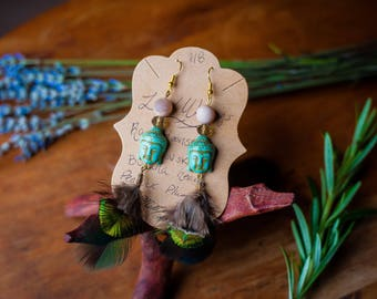 Buddha and Peacock Feather Earrings