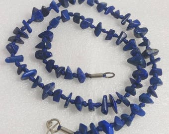 handmade 22 inch long 100 % NATURAL Polished Lapis Lazuli strand necklace