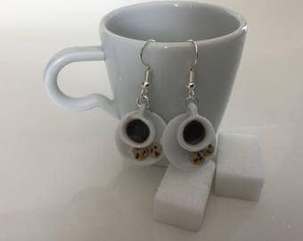 Coffee Cup earrings and her small cookies