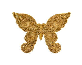Gold Butterfly Iron On Applique, Cinderella Butterfly Iron On Patch, Gold Patch, Butterfly Applique, Cinderella Applique, Embroidered Patch