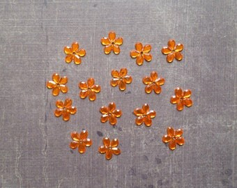 Lot 50 rhinestones form flower 1.1 cm Orange
