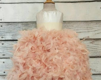 Gorgeous couture flower girl dress,rustic blush flower girl dress,blush ball gown flower girl dress,feather flower girl dress