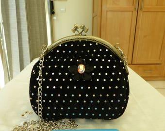 Black sequined evening bag / / kawaii bag / / wedding bag / / clasp / / velvet / / 19cm x 16cm