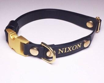 Leather Dog Collar Personalised Black Quick Release Name Custom Monogram Avaloncraft Henbury Dog Collar