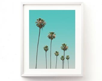 palm trees photograph, tropical print, California photo, Los Angeles art, nursery printable, instant download, girls room, dorm, baby