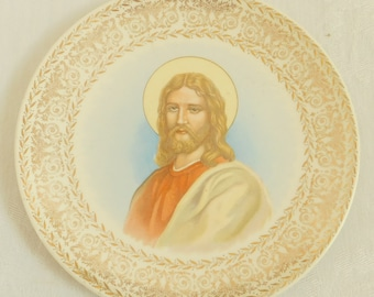 Vintage Jesus Christ Collectible Plate, Decorative Plate, Filigree Gold Edging, Knowles, Wall Hanging, Christian Art, Christian Decor