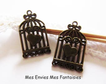 2 bronze charms A Cage birds hearts 34 x 19mm