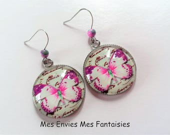 Jade Butterfly pink and white stainless steel earrings