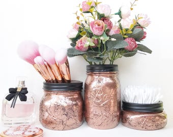 Copper Mason Jar, Rose Gold Dressing Table, Marble Accessories, Rose Gold Decor, Makeup Brush Holder, Marble Mason Jar, Desk Accessories