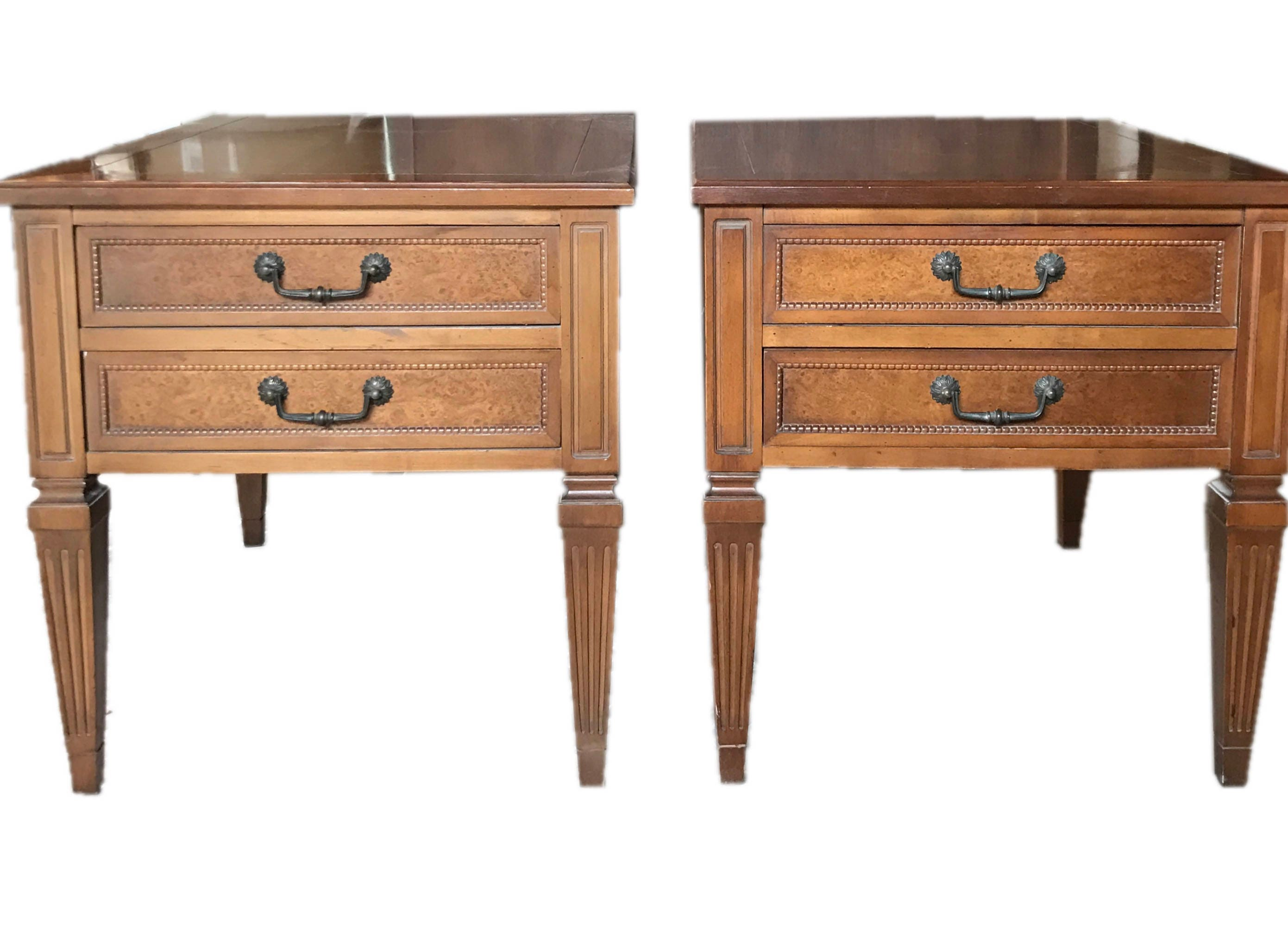 mid century modern end table set painted white w gold handles solid wood by hammery dovetail drawers drop bail pulls