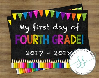 First Day of Fourth Grade Sign; First Day of School Sign; First Day of School Chalkboard Sign; First Day of School Printable