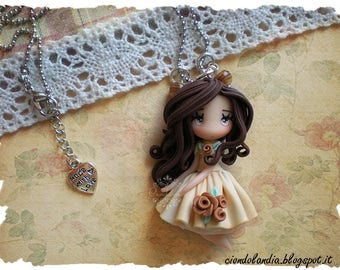 Princess doll necklace polymer clay (fimo)