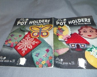 Crochet Patterns, Novelty Pot Holders and Oven Mitts, 1950s, Lily Design Book 59, 1951, 16 designs