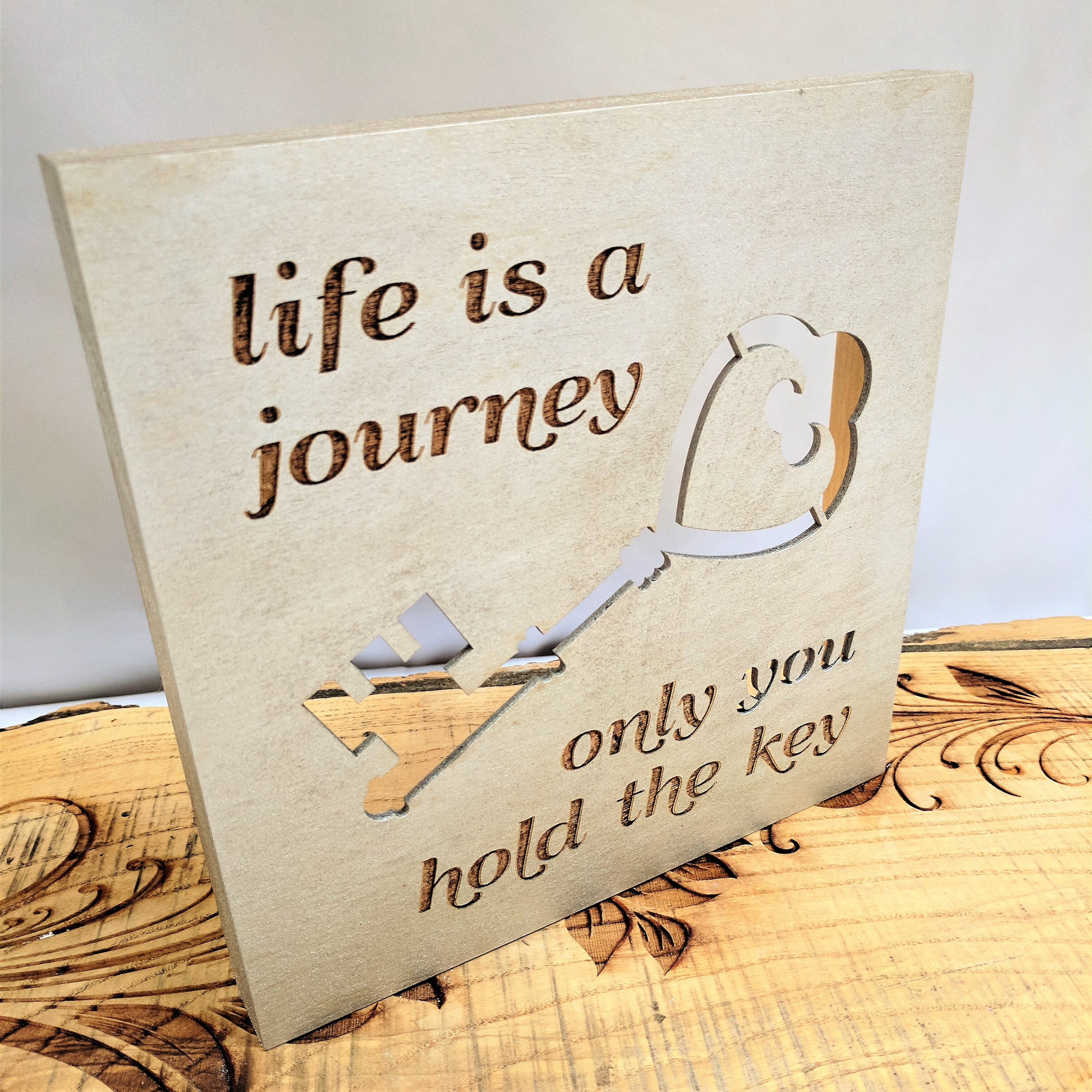 Life Canvas Quote Life Is A Journey Only You Hold The Key Wood Canvas Wall Art