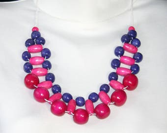 Beaded statement necklace Сolorful pink purple wooden necklace  simple jewelry gift idea necklace everyday