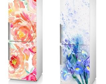 "Fridge Vinyl Sticker *** China Rose *** - *** The Irises *** / Self-Adhesive Vinyl Refrigerator Decal / 185 x 60 cm  (73"" x 24"")"