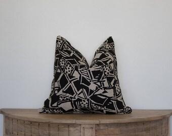 18X18 African Blocked Linen Pillow Cover