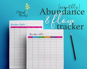 Abundance Tracker Editable, Printable -- Bullet Journal Style Planner Page -- Letter Size -- Money -- Income -- Goals  -- Finances